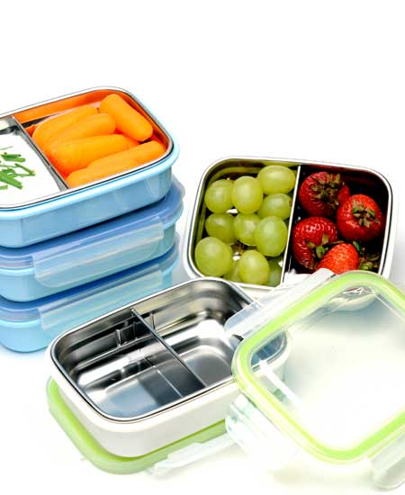 Steeltainer stainless snack container blue white