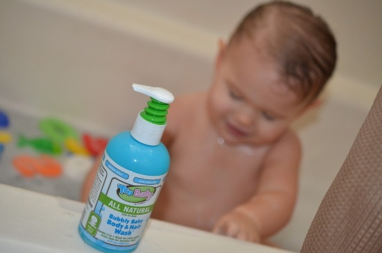 trubay bubbly baby body and hair wash in use