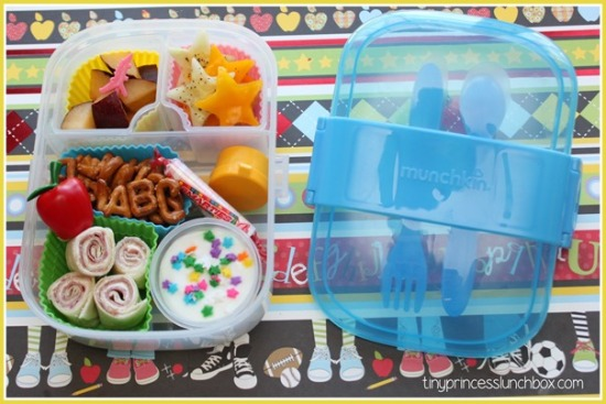Munchkin Click Lock Bento Mealtime Set Blue in Use