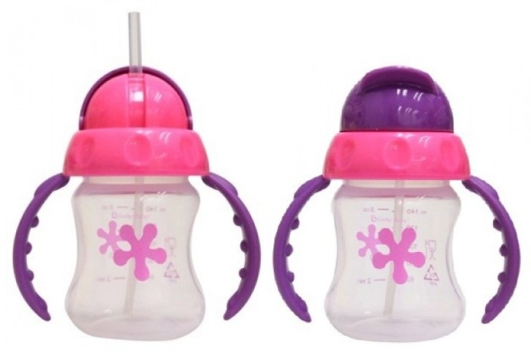 lucky baby sapee straw cup PINK