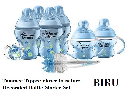 tommee tippee decorated bottle starter set blue