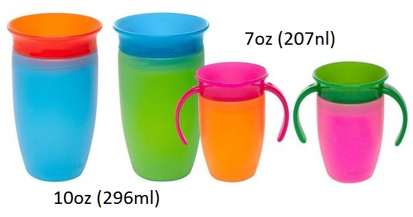 Pilihan warna: cup biru, hijau, orange, dan pink