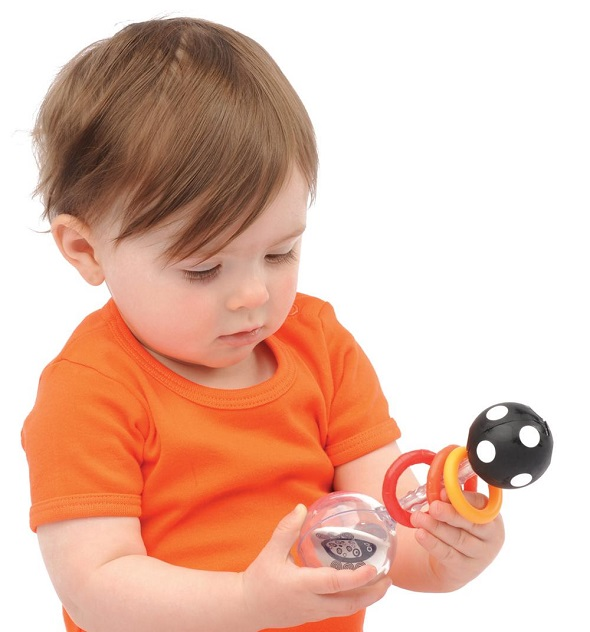 Sassy Spin Shine Rattle in use