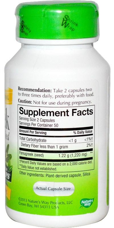 Natures Way Fenugreek Seek - Supplement Facts