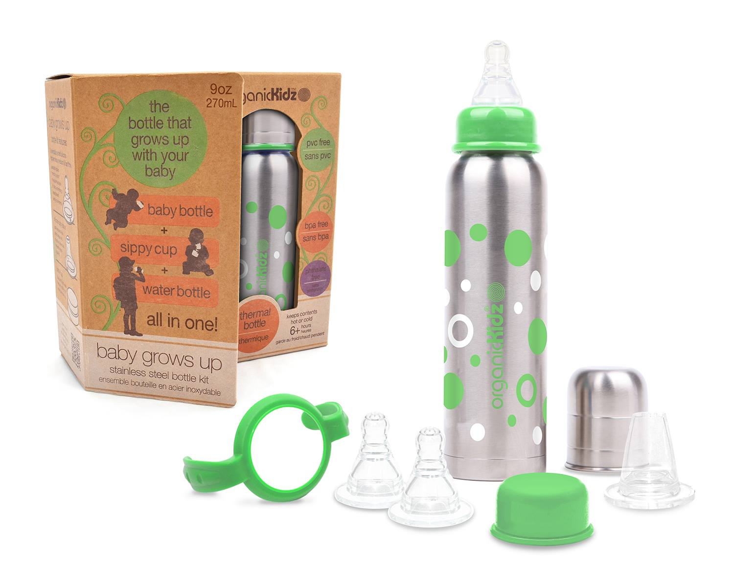 OrganicKidz Grows Up Set Narrow Neck Bottle 9oz