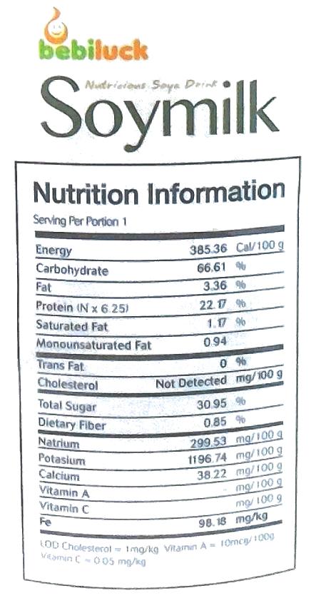 Bebiluck Soymilk Informasi Nutrisi