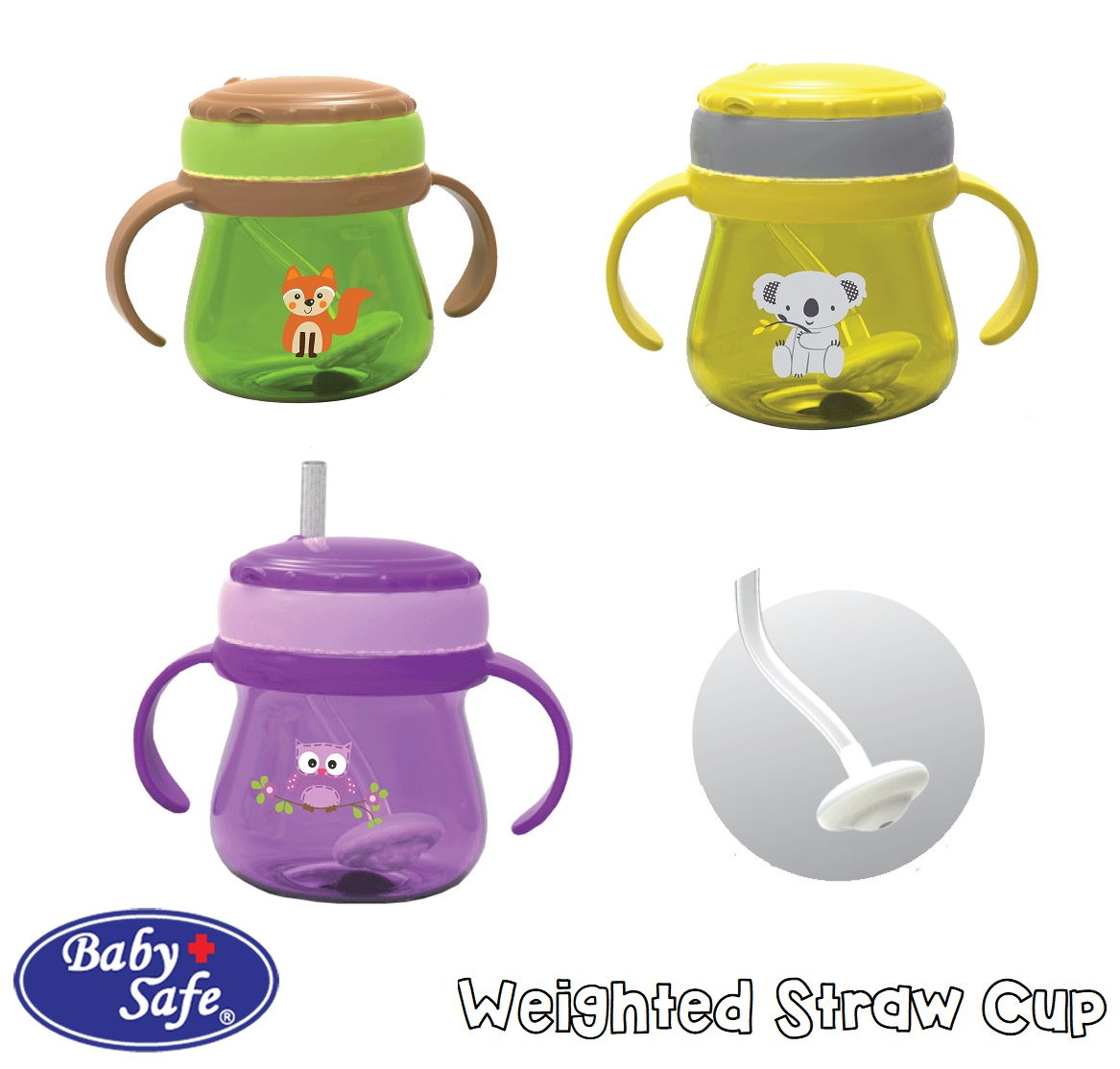 Babysafe Weighted Straw Cup Botol Sedotan Bayi Dengan Pemberat Tommee Tippee Insulated Sippee 12m Yellow Bee