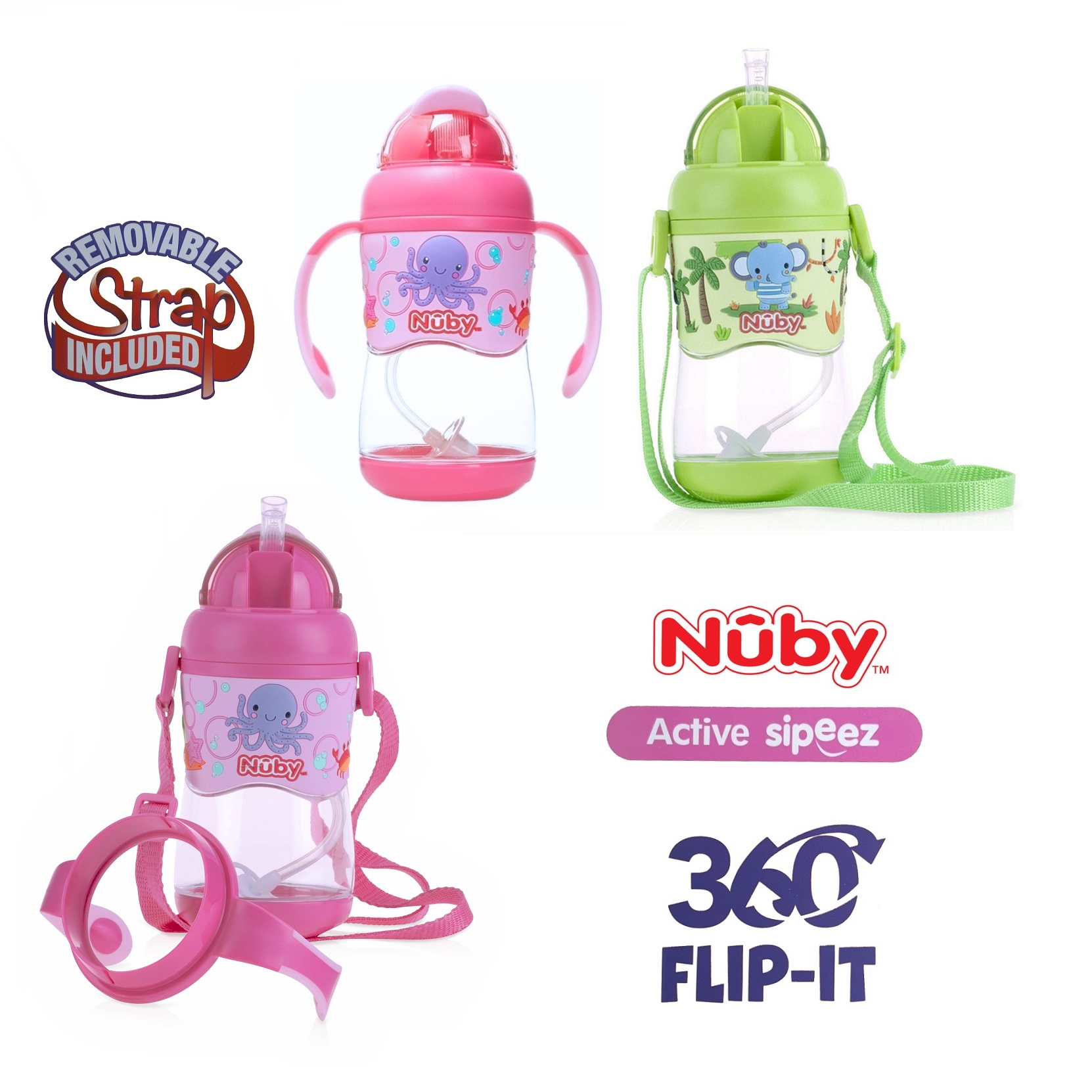 Nuby Tritan Flip It Straw with Strap
