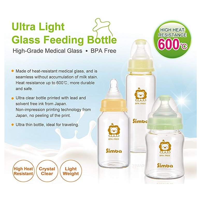 Simba Glass Feeding Bottle Botol Susu Bayi Kaca