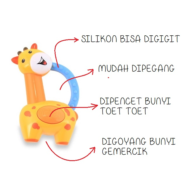Lusty Bunny Giraffe Rattle Teether (Fitur)