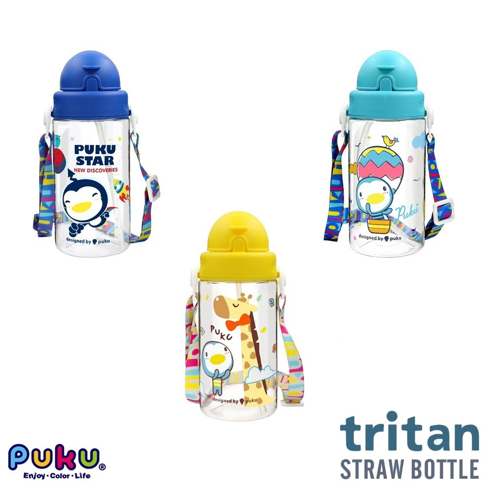 Puku Tritan Straw Bottle 330ml with Strap (1)